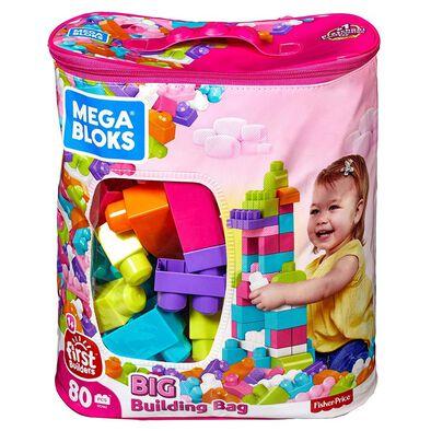 Mega Bloks เมก้า บล็อคส์ บิ๊ก บิลดิ้ง แบ็ก 80 ชิ้น สีชมพู