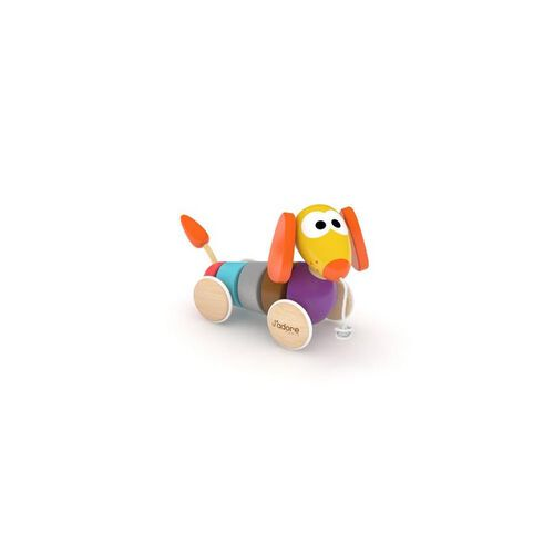 J'adore ฌาดอร์ ของเล่นไม้ฝึกลากจูงลูกสุนัข สีส้ม