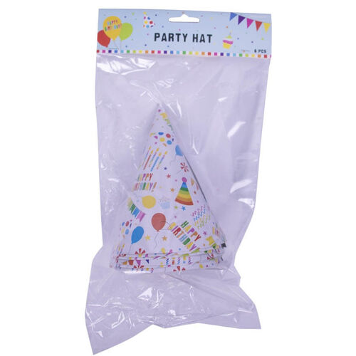 แอมสแกน หมวกกระดาษ งานปาร์ตี้ 6 ชิ้น (ลายพื้นฐาน)
