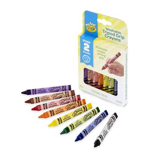Crayola เครโยล่า สีเทียนแท่งสามเหลี่ยมล้างออกได้สำหรับเด็กเล็ก 8สี