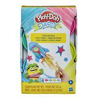 Play-Doh เพลย์โดว์ อีลาสติก คอมปาวด์ แพ็ก 4 กระปุก คละสี