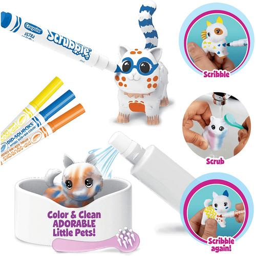 Crayola เครโยล่า สคริบเบิ้ลสครับบี้ชุดระบายสีและอาบน้ำสัตว์เลี้ยงกล่องฟ้า