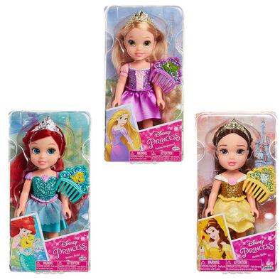 Disney Princess ตุ๊กตาเจ้าหญิงตัวน้อยและชุดกลิตเตอร์ ขนาด6นิ้ว (คละลาย)