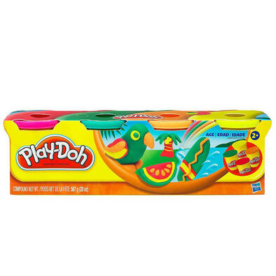 Play-Doh เพลย์โดว์ ชุดแป้งปั้น 112 กรัม แพ็ก 4 กระปุก (คละสี)