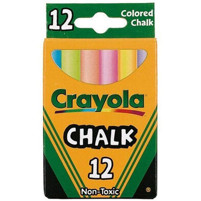 Crayola เครโยล่า สีชอล์ก หลากสี  12แท่ง ไร้สารพิษ