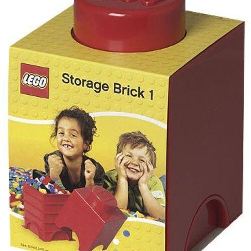 LEGO เลโก้ กล่องเก็บบริค ทรงสี่เหลี่ยม 1 ปุ่ม สีแดง