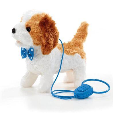 Pitter Patter Pets ตุ๊กตาน้องหมาเดินเล่น พร้อมสายจูง (สีขาวน้ำตาลและขาว)