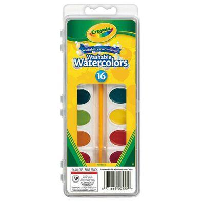 Crayola เครโยล่า สีน้ำ 16สี พร้อมพู่กัน ล้างออกได้ ไร้สารพิษ